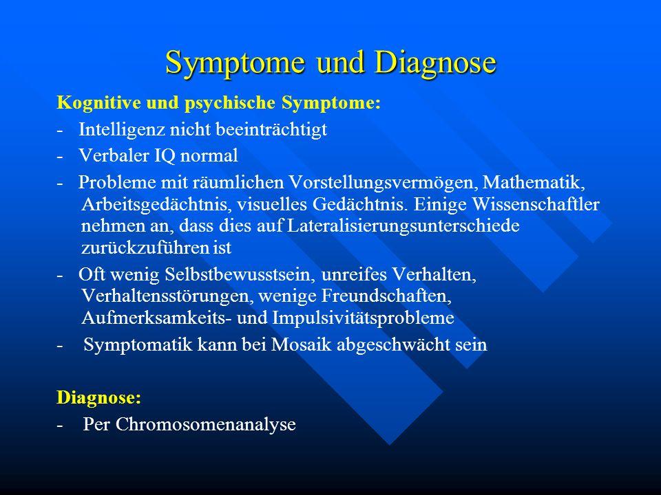 Symptome und Diagnose Kognitive und psychische Symptome: