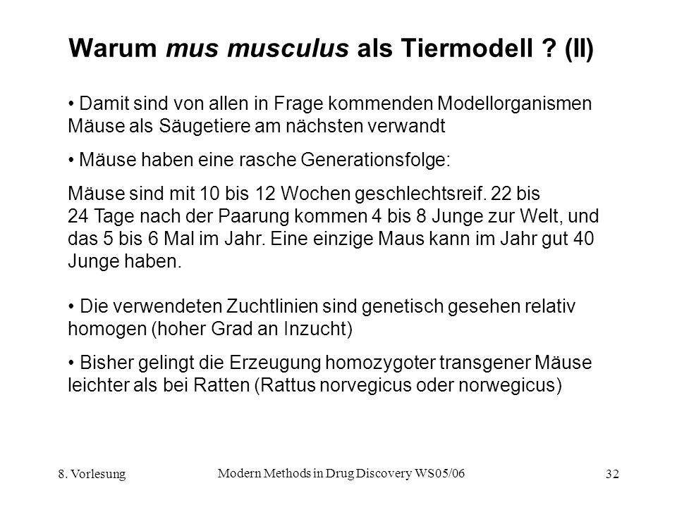 Warum mus musculus als Tiermodell (II)