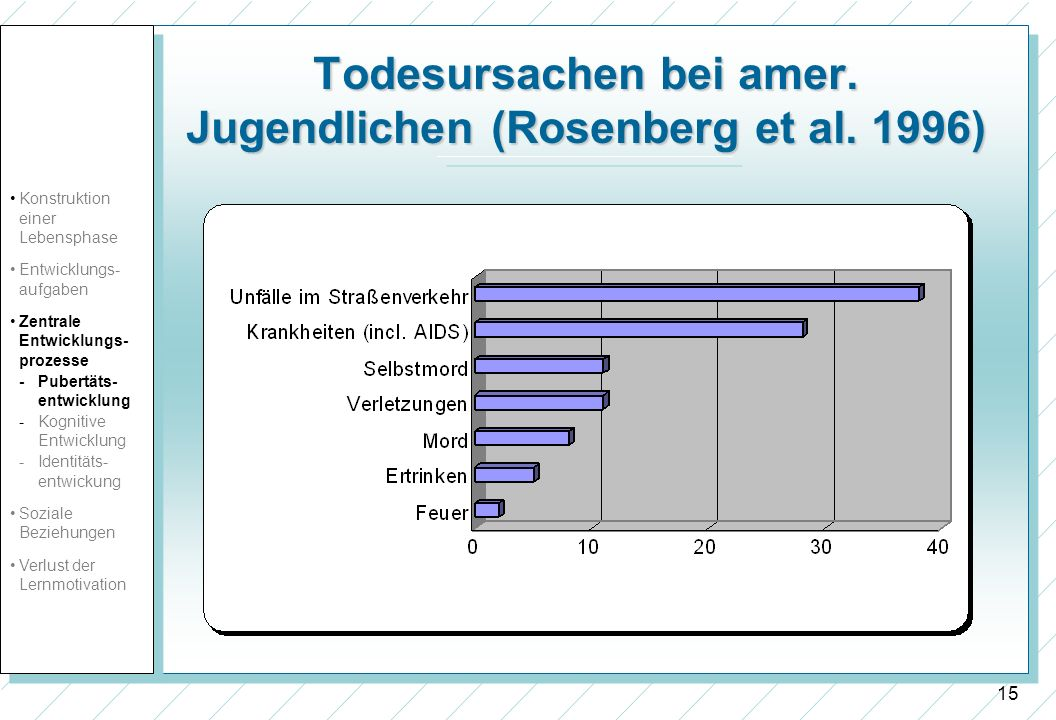 Todesursachen bei amer. Jugendlichen (Rosenberg et al. 1996)
