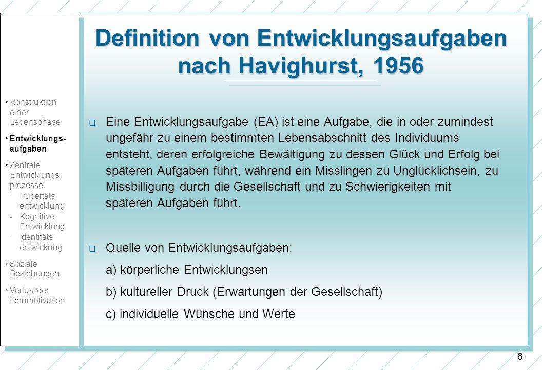 Definition von Entwicklungsaufgaben nach Havighurst, 1956
