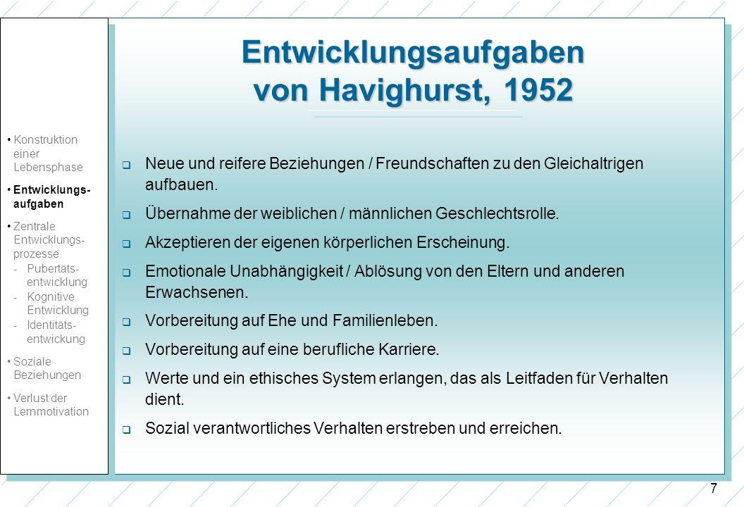 Entwicklungsaufgaben von Havighurst, 1952
