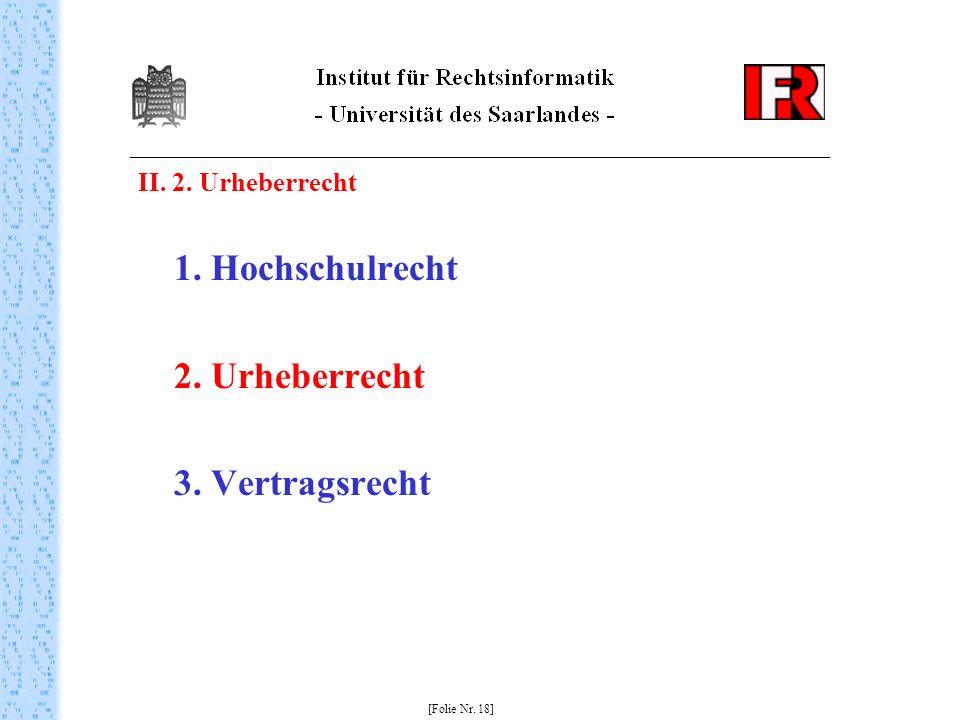 2. Urheberrecht 3. Vertragsrecht II. 2. Urheberrecht 1. Hochschulrecht