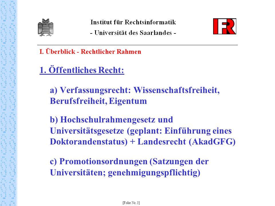 a) Verfassungsrecht: Wissenschaftsfreiheit, Berufsfreiheit, Eigentum