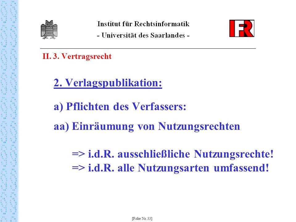II. 3. Vertragsrecht 2. Verlagspublikation: