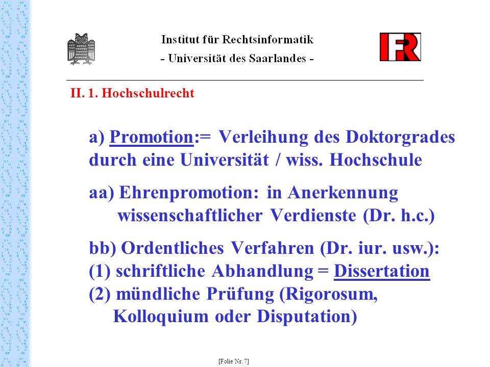 II. 1. Hochschulrecht