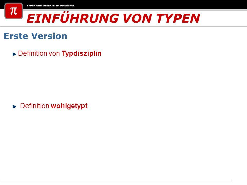 EINFÜHRUNG VON TYPEN Erste Version Definition von Typdisziplin