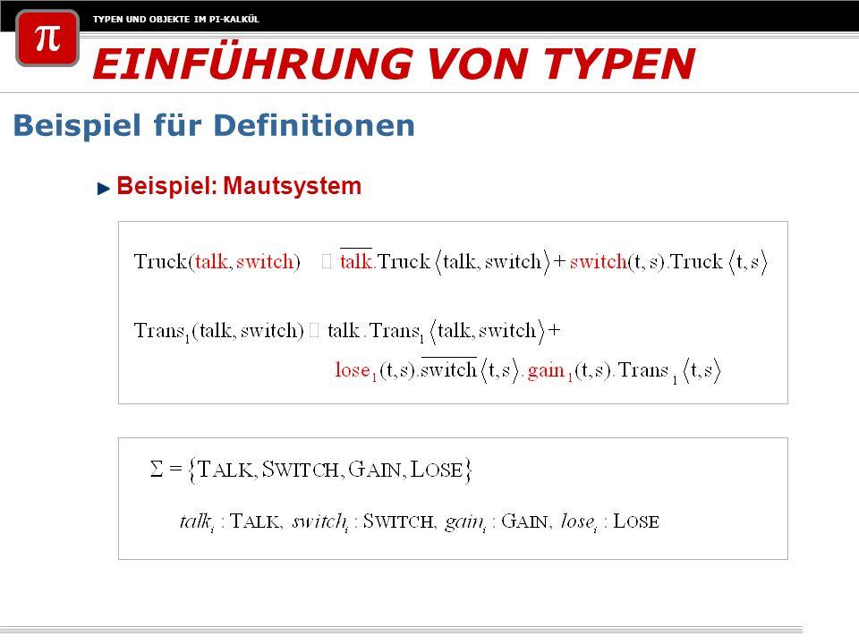 EINFÜHRUNG VON TYPEN Beispiel für Definitionen Beispiel: Mautsystem