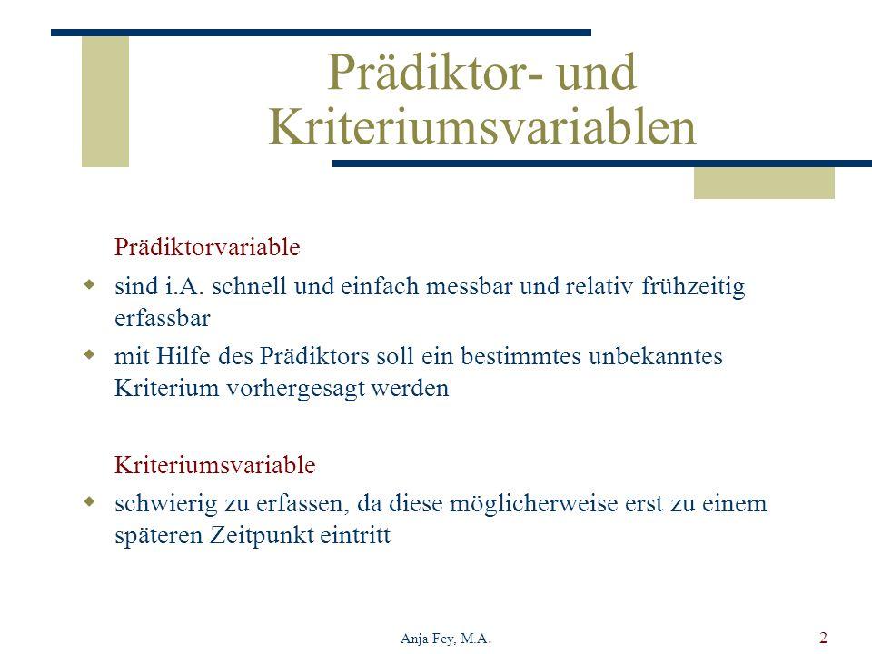 Prädiktor- und Kriteriumsvariablen