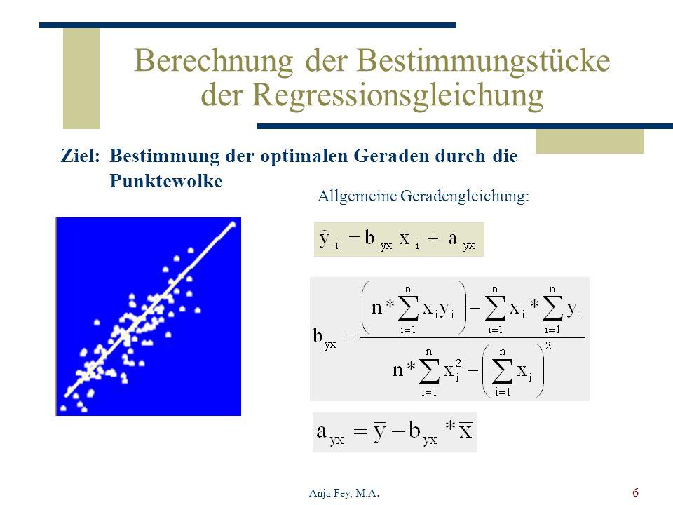 Berechnung der Bestimmungstücke der Regressionsgleichung