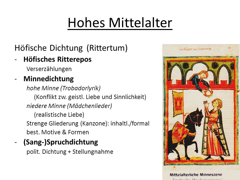 Hohes Mittelalter Höfische Dichtung (Rittertum) Höfisches Ritterepos
