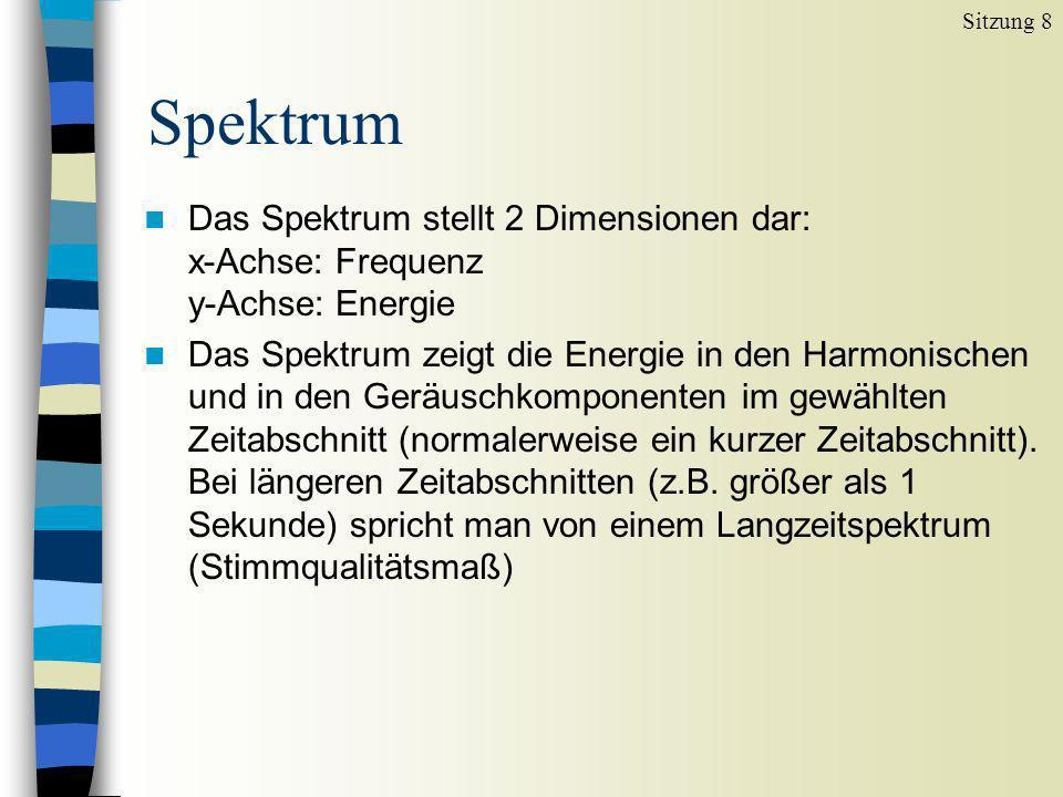 Sitzung 8 Spektrum. Das Spektrum stellt 2 Dimensionen dar: x-Achse: Frequenz y-Achse: Energie.