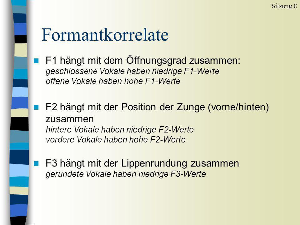 Sitzung 8 Formantkorrelate. F1 hängt mit dem Öffnungsgrad zusammen: geschlossene Vokale haben niedrige F1-Werte offene Vokale haben hohe F1-Werte.