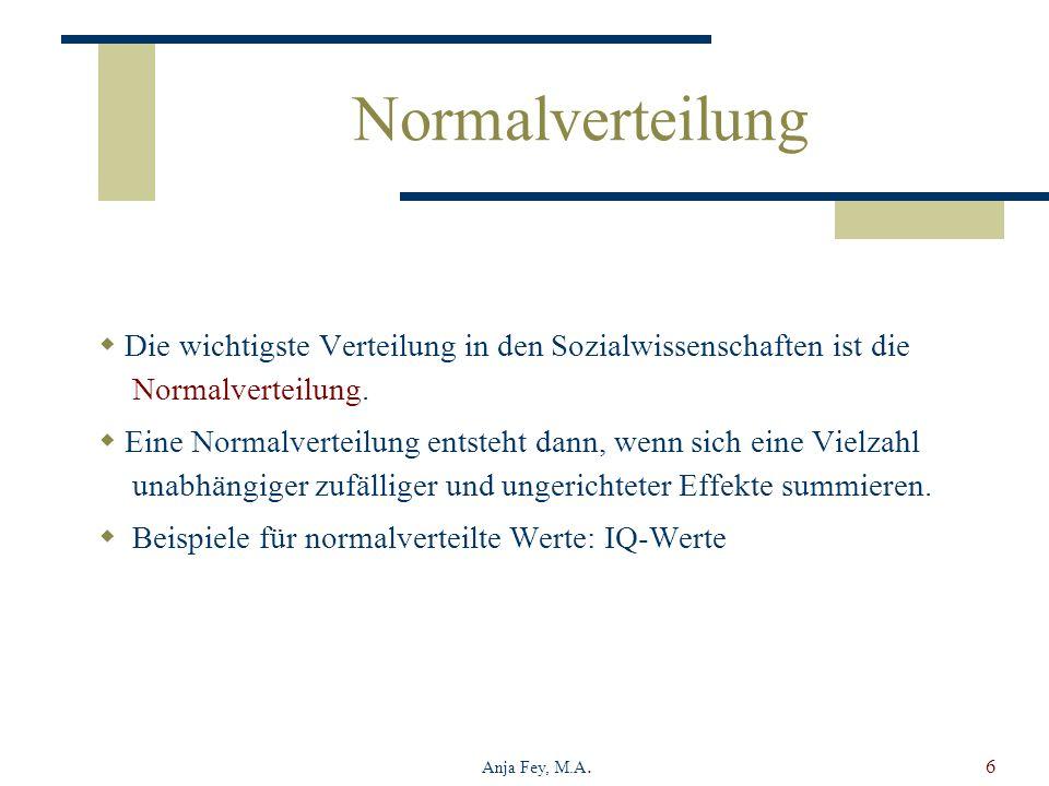 Normalverteilung Die wichtigste Verteilung in den Sozialwissenschaften ist die Normalverteilung.