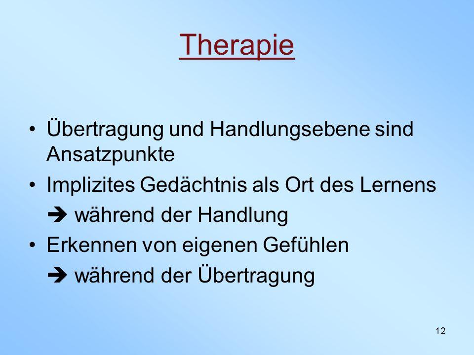 Therapie Übertragung und Handlungsebene sind Ansatzpunkte