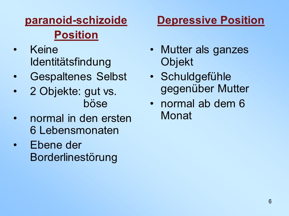 paranoid-schizoide Position Depressive Position