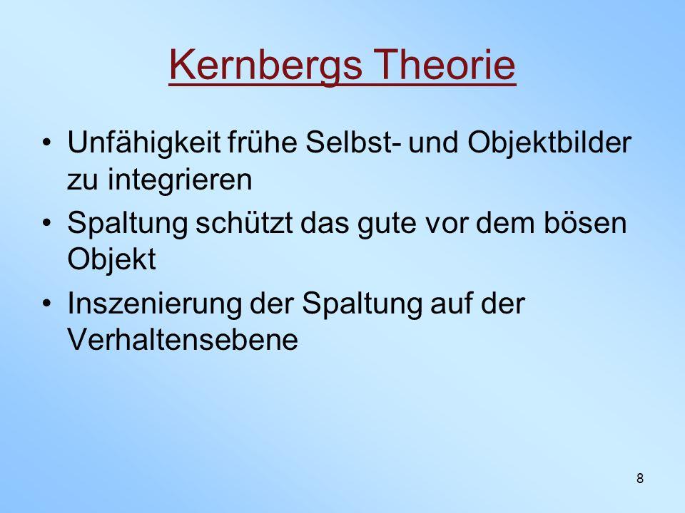 Kernbergs Theorie Unfähigkeit frühe Selbst- und Objektbilder zu integrieren. Spaltung schützt das gute vor dem bösen Objekt.