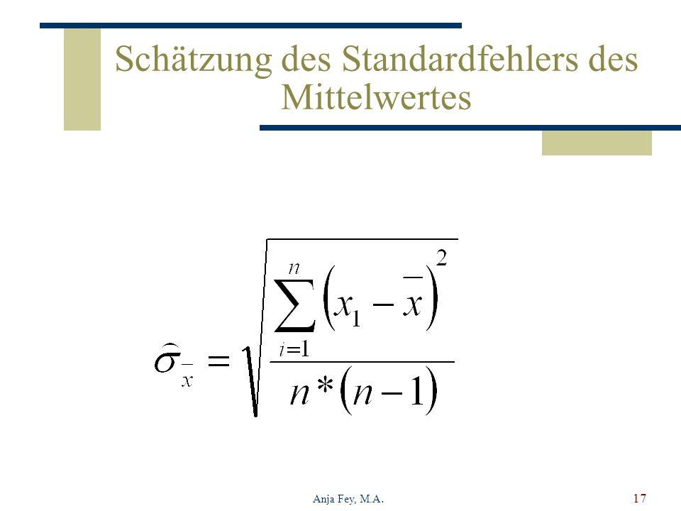 Schätzung des Standardfehlers des Mittelwertes