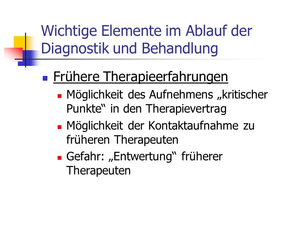 Wichtige Elemente im Ablauf der Diagnostik und Behandlung