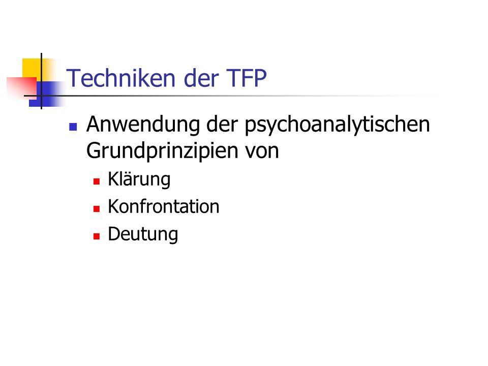 Techniken der TFP Anwendung der psychoanalytischen Grundprinzipien von
