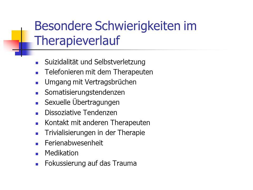 Besondere Schwierigkeiten im Therapieverlauf