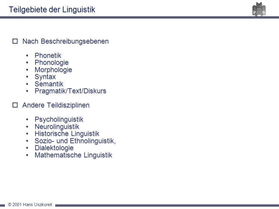 Teilgebiete der Linguistik