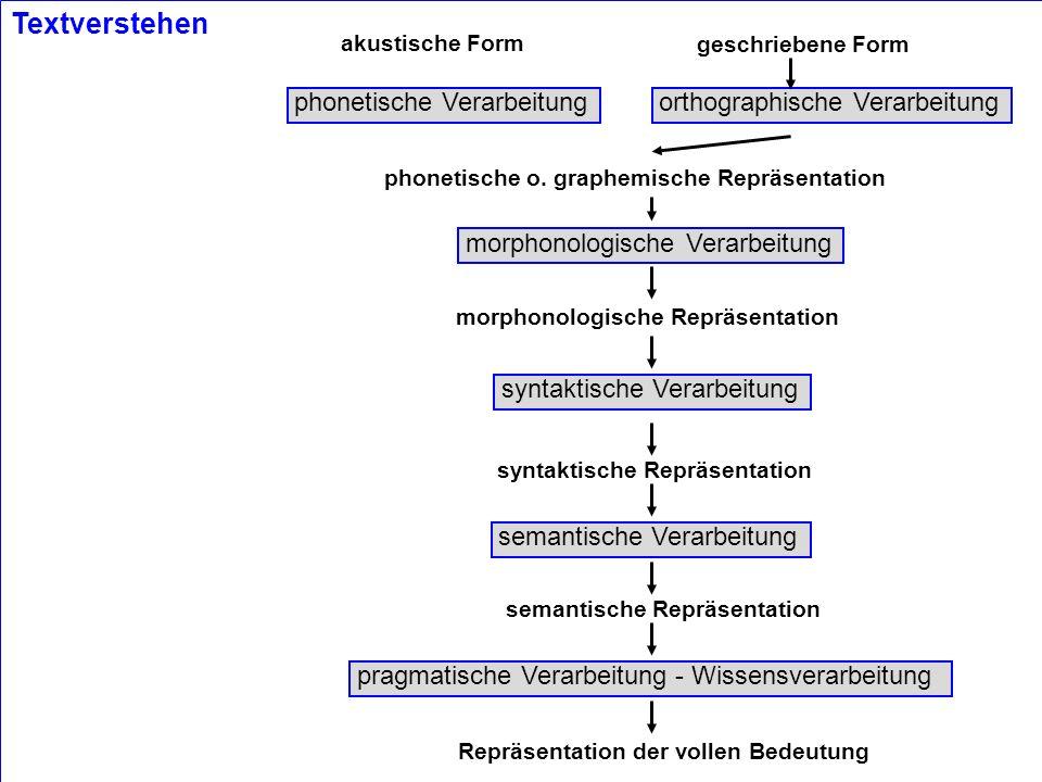 Textverstehen phonetische Verarbeitung orthographische Verarbeitung