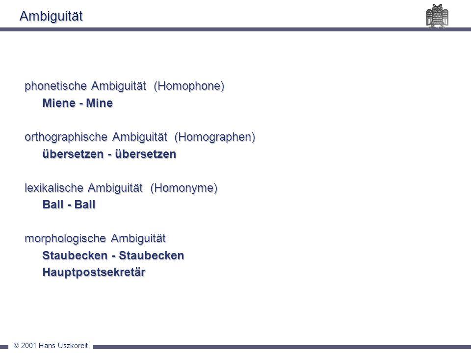 Ambiguität phonetische Ambiguität (Homophone) Miene - Mine
