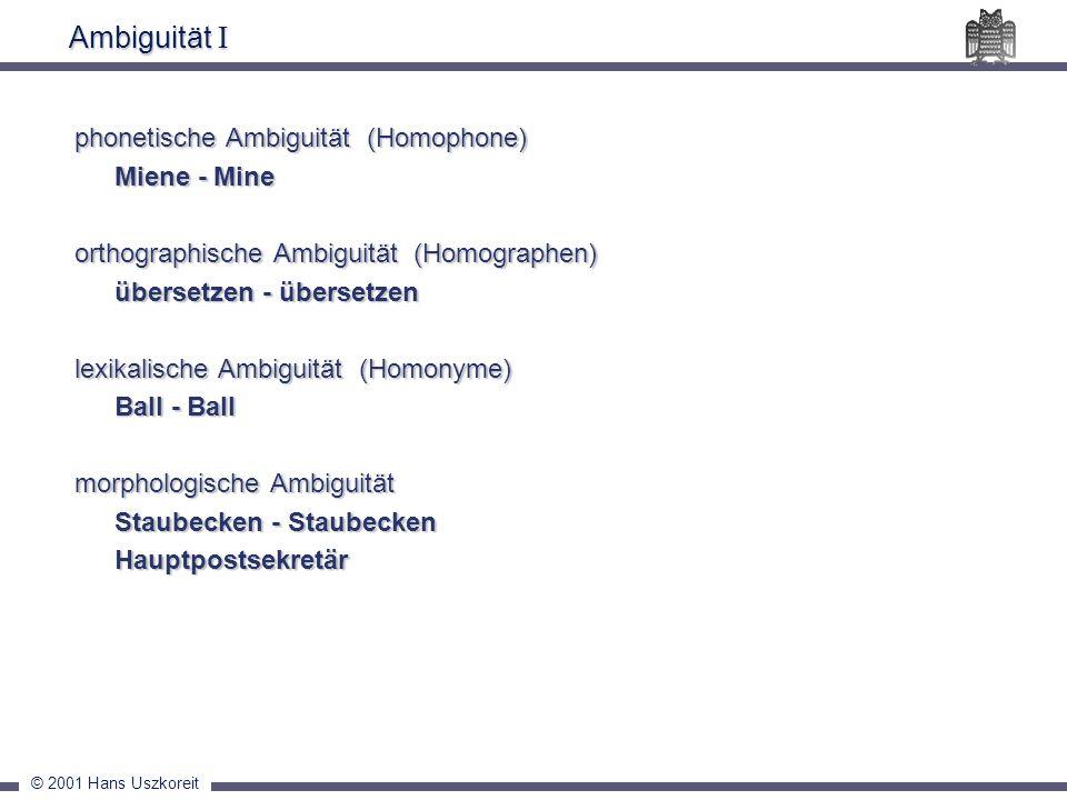 Ambiguität I phonetische Ambiguität (Homophone) Miene - Mine