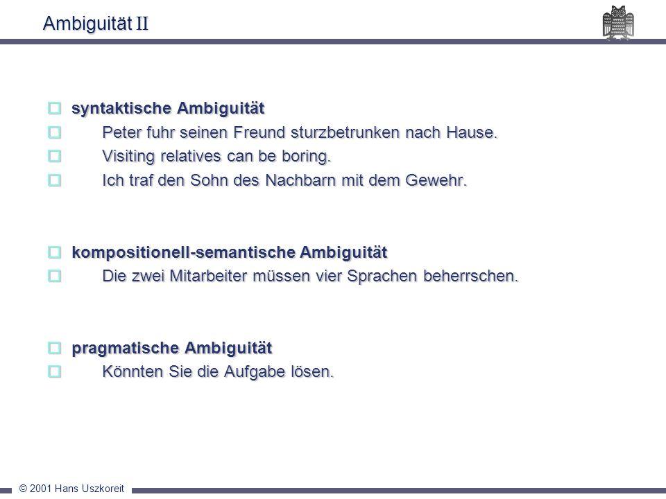 Ambiguität II syntaktische Ambiguität