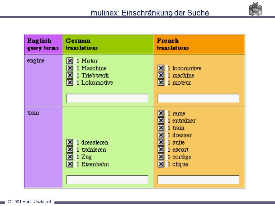 mulinex: Einschränkung der Suche