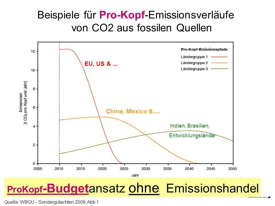 Beispiele für Pro-Kopf-Emissionsverläufe von CO2 aus fossilen Quellen