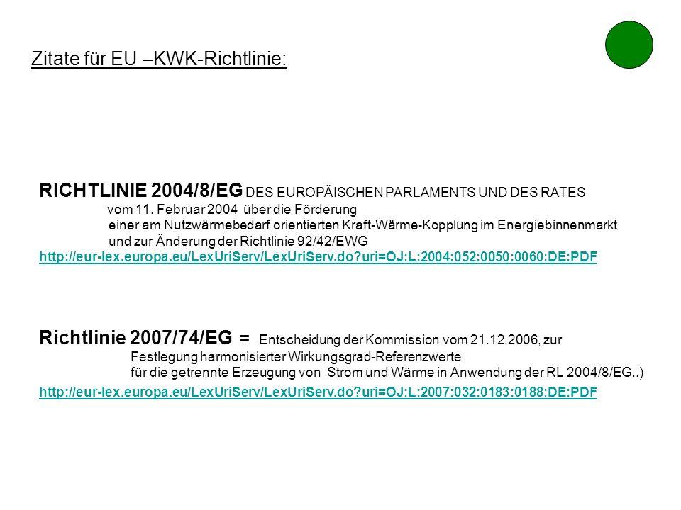 Zitate für EU –KWK-Richtlinie: