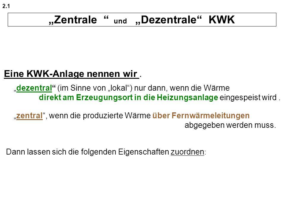 """""""Zentrale und """"Dezentrale KWK"""