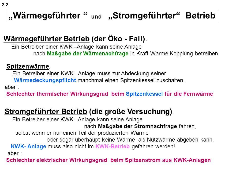 """""""Wärmegeführter und """"Stromgeführter Betrieb"""