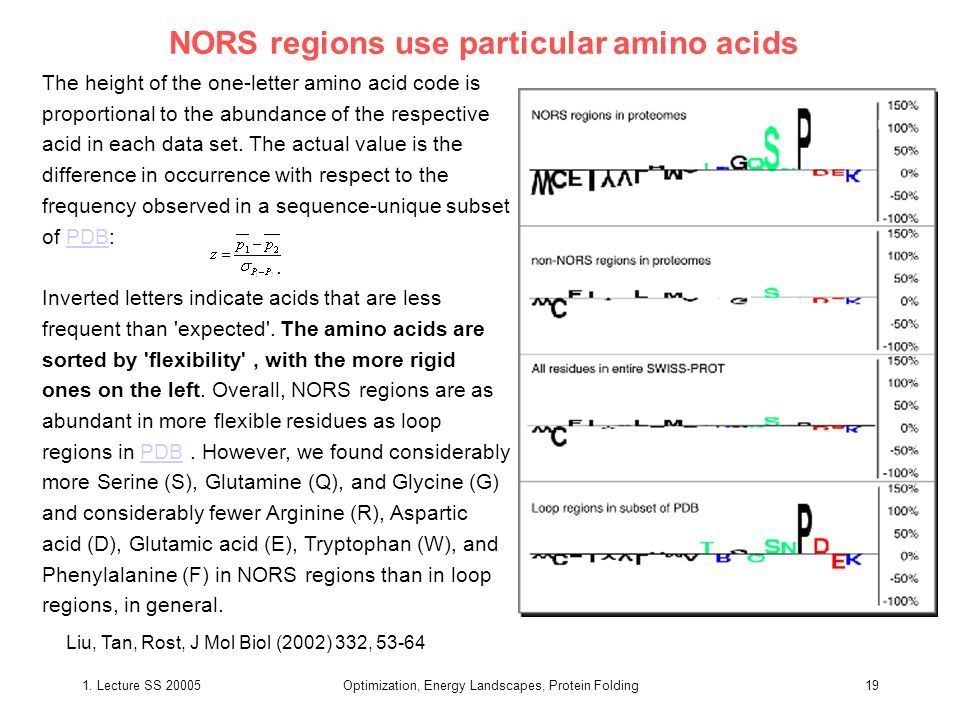 NORS regions use particular amino acids