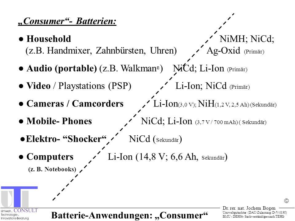 """Batterie-Anwendungen: """"Consumer"""