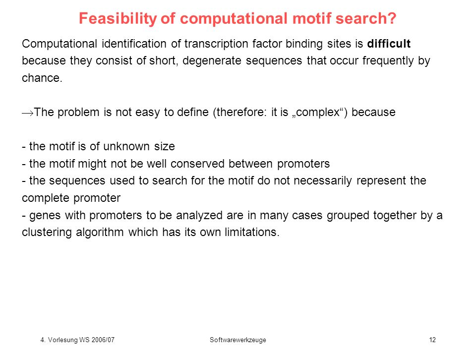 Feasibility of computational motif search