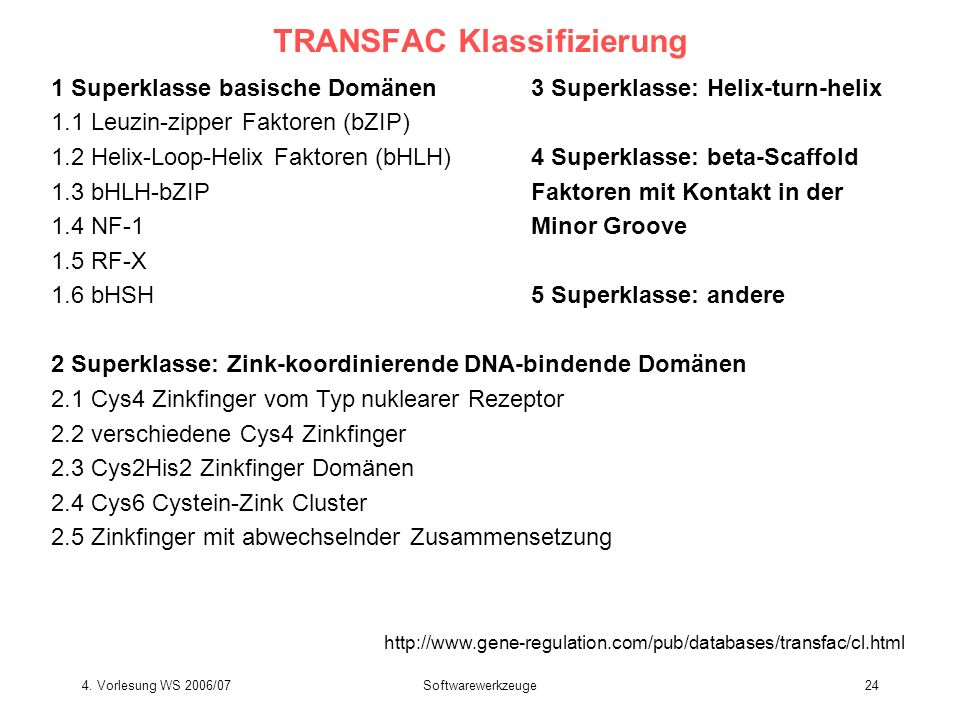 TRANSFAC Klassifizierung