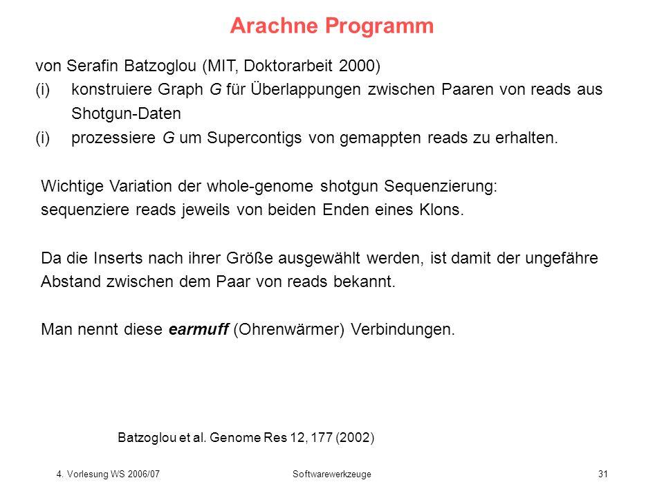 Arachne Programm von Serafin Batzoglou (MIT, Doktorarbeit 2000)