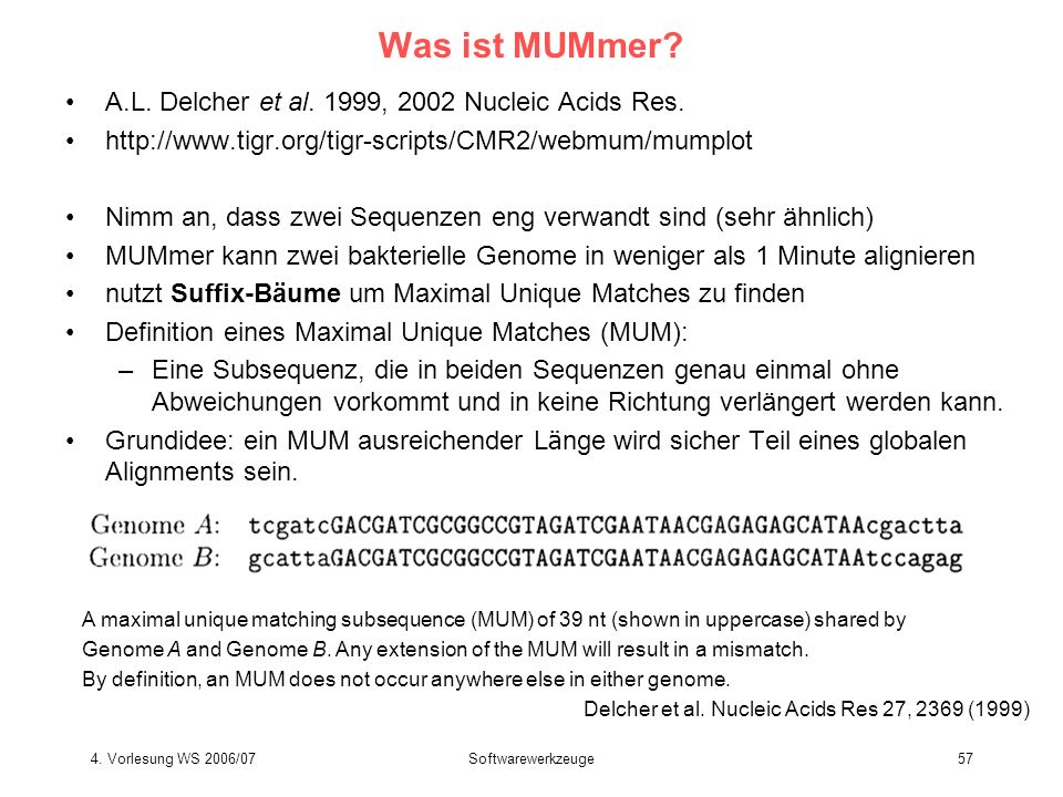 Was ist MUMmer A.L. Delcher et al. 1999, 2002 Nucleic Acids Res.
