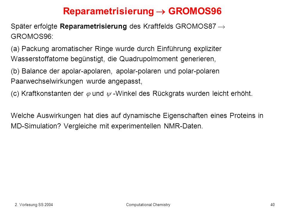 Reparametrisierung  GROMOS96