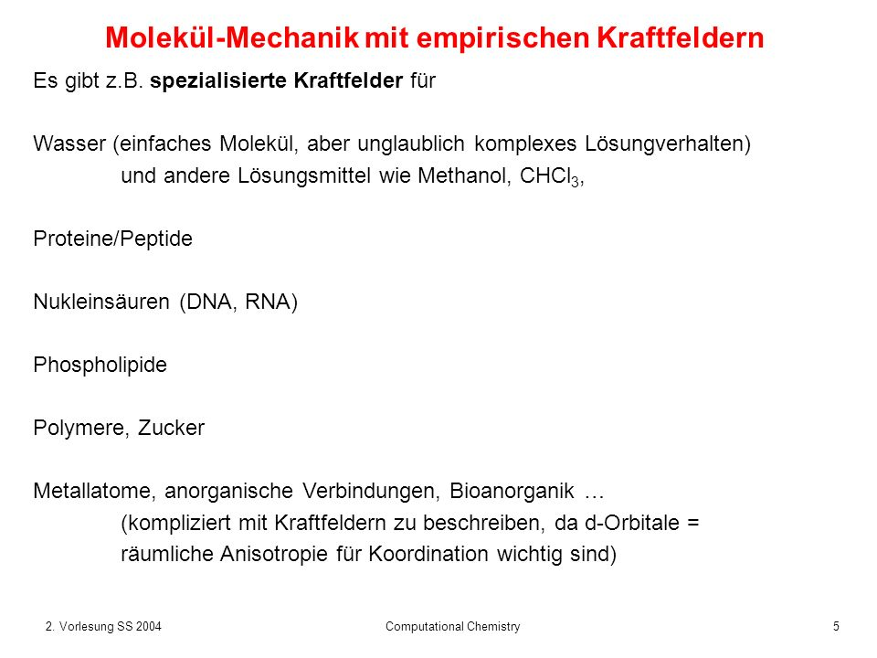 Molekül-Mechanik mit empirischen Kraftfeldern