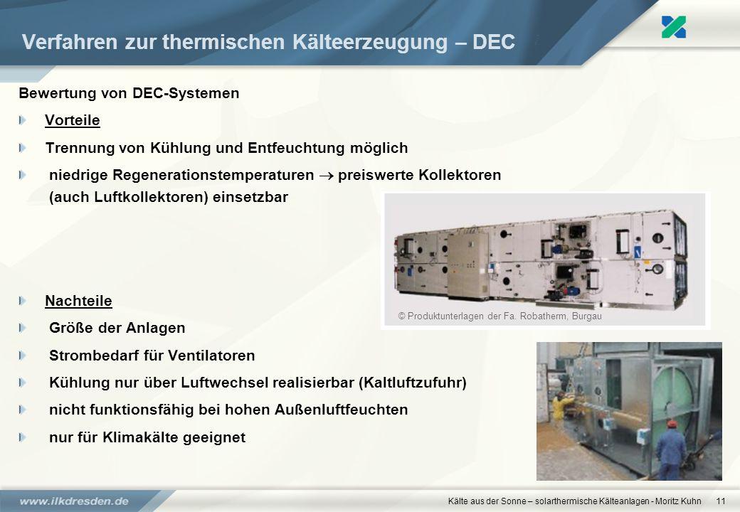 Verfahren zur thermischen Kälteerzeugung – DEC