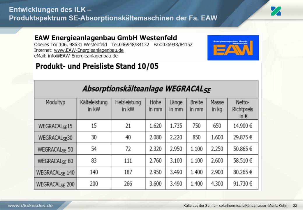 www.ilkdresden.de 27.03.2017. Entwicklungen des ILK – Produktspektrum SE-Absorptionskältemaschinen der Fa. EAW.