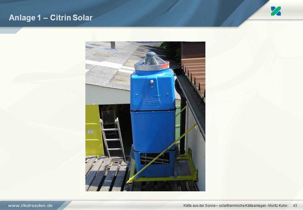 Anlage 1 – Citrin Solar Kälte aus der Sonne – solarthermische Kälteanlagen - Moritz Kuhn