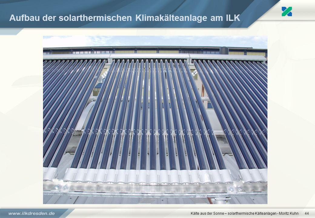 Aufbau der solarthermischen Klimakälteanlage am ILK