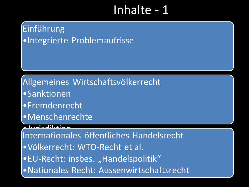 Inhalte - 1 Einführung Integrierte Problemaufrisse