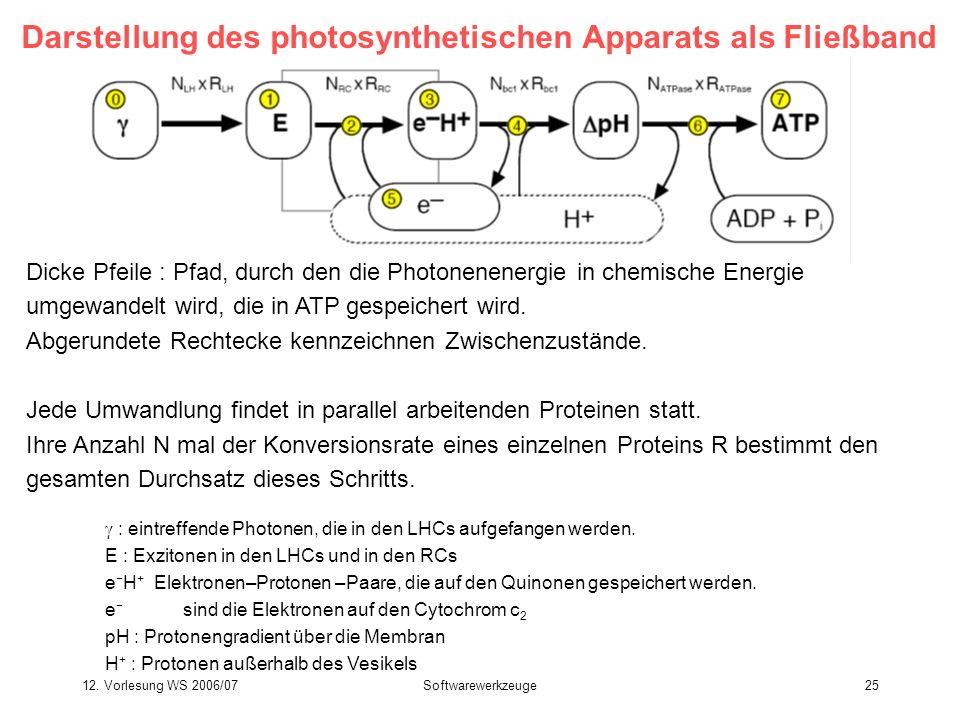 Darstellung des photosynthetischen Apparats als Fließband