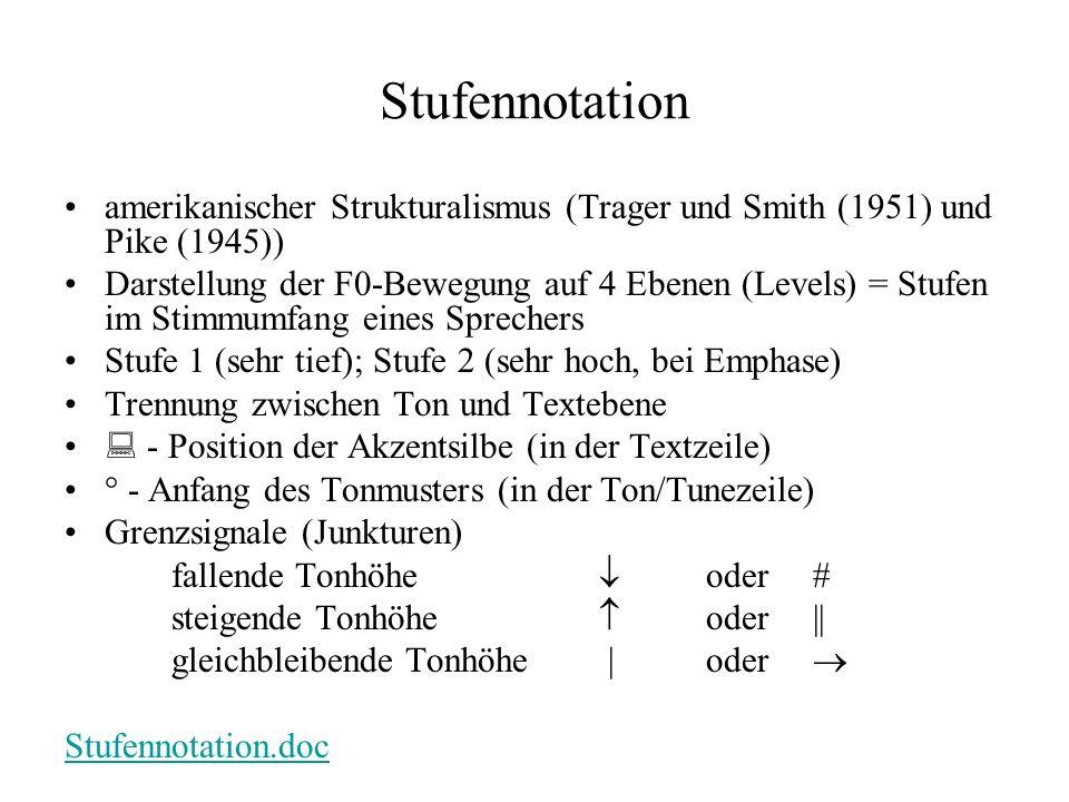 Stufennotation amerikanischer Strukturalismus (Trager und Smith (1951) und Pike (1945))