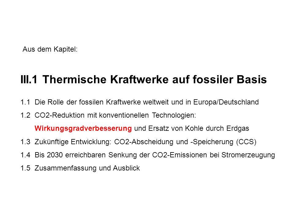 III.1 Thermische Kraftwerke auf fossiler Basis